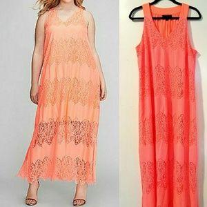 14/16 Lane Bryant Lace Maxi Dress in Bright Melon